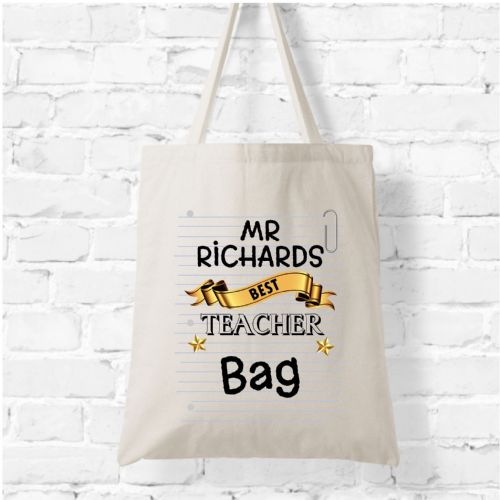 Personalised Natural Soft Tote Bag N7 - Best Teacher Bag
